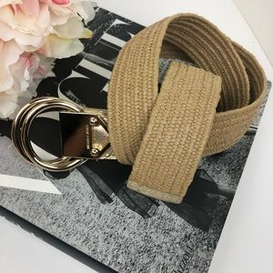 Michael Kors Gold Woven Fabric Belt